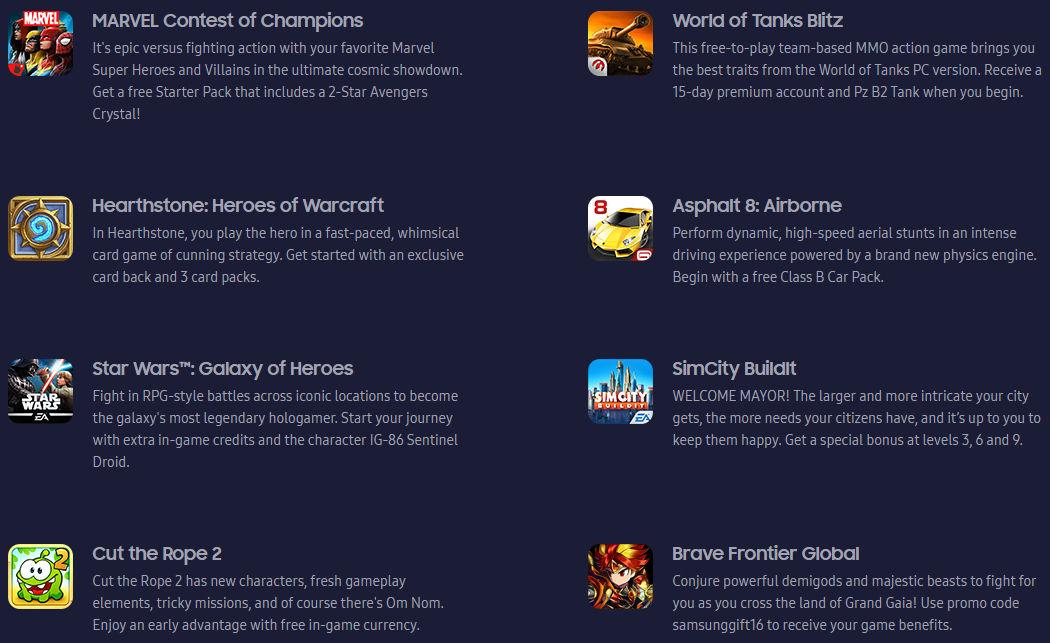 Ingyen játékok és ajándékok a Galaxy S7-hez