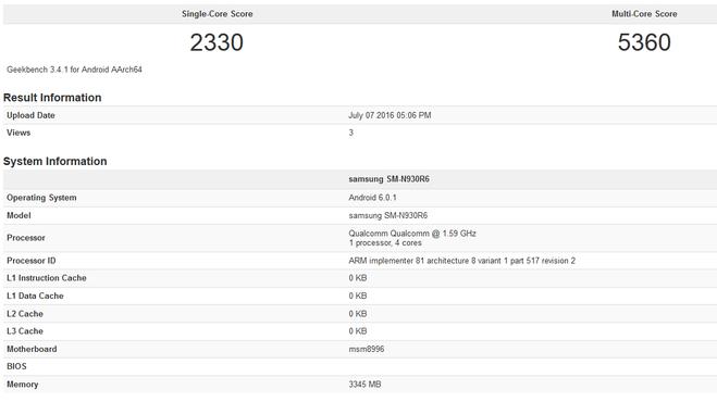 Samsung Galaxy Note 7 a Geekbenchen!